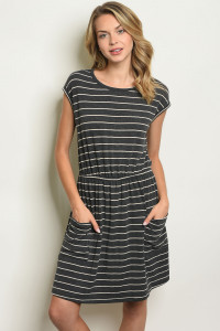 C58-A-6-D10428 CHARCOAL STRIPES DRESS 2-2-2
