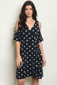 C62-A-7-D13645 NAVY WITH DOTS DRESS 2-2-2