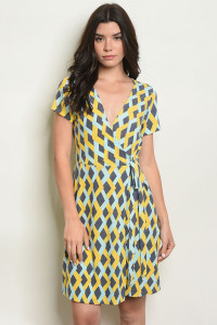 C70-A-5-D5744 YELLOW BLUE DRESS DRESS 2-2-2