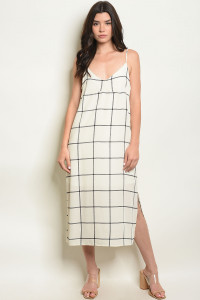 C74-A-6-D5504 IVORY CHECKERED DRESS 2-2-2