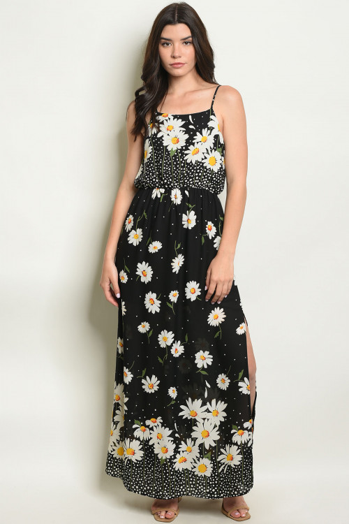 S16-10-2-D11224 BLACK WITH FLOWER PRINT DRESS 3-1-2