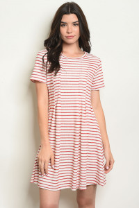 S16-10-2-D11282 RED STRIPES DRESS 3-2-2