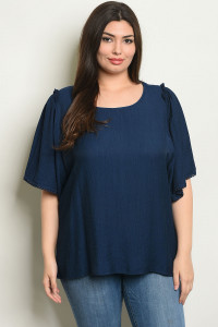 S16-10-2-T6007X NAVY PLUS SIZE TOP 1-2-2-1