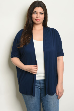 C91-B-2-C7824X NAVY PLUS SIZE CARDIGAN 2-2-2