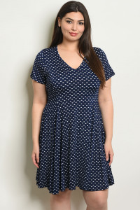 C79-A-2-D15021X NAVY WHITE PLUS SIZE DRESS 1-2-2-1