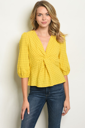 S16-9-1-T10296 YELLOW CHECKERED TOP 4-2-1