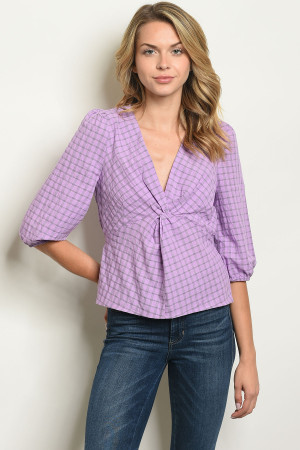 S16-9-1-T10296 LAVENDER CHECKERED TOP 4-2-1