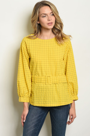 S16-9-1-T10291 YELLOW CHECKERED TOP 4-2-1