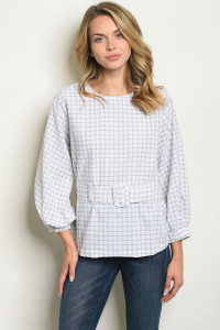 S14-10-5-T10291 WHITE CHECKERED TOP 3-2-1