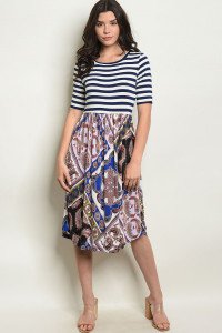 C25-A-3-D1087 NAVY STRIPES PRINT DRESS 2-2-2