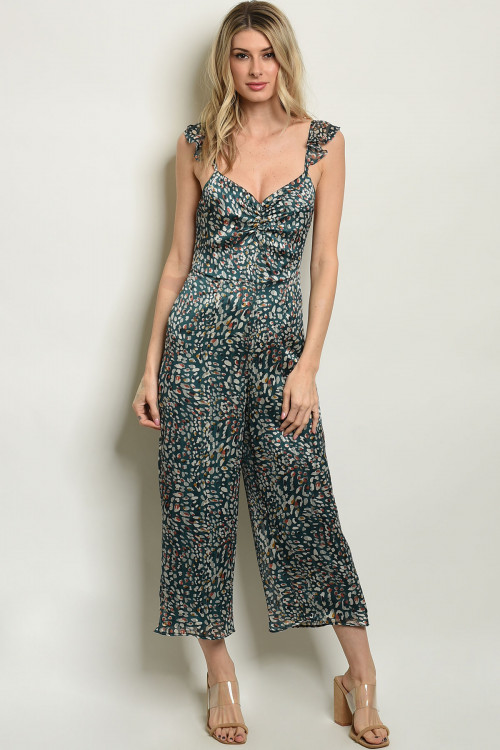 C16-A-1-J4270 GREEN IVORY JUMPSUIT 1-3-2-1