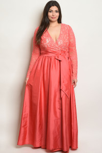 S13-2-2-D24594X CORAL PLUS SIZE DRESS 2-2-2