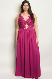 S13-2-3-D27066X MAGENTA PLUS SIZE DRESS 2-2-2