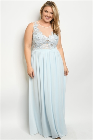 S13-2-3-D27066X BLUE PLUS SIZE DRESS 2-2-2