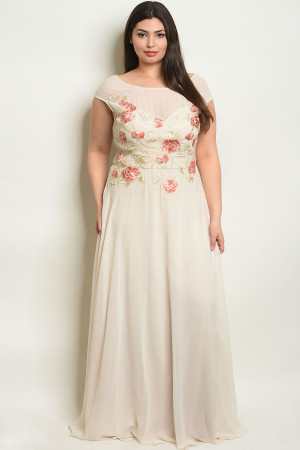 S13-2-4-D25527X CREAM WITH FLOWER EMBROIDERY PLUS SIZE DRESS 2-2-2