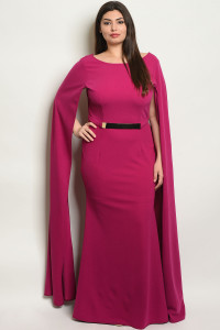 S10-9-2-D24729X MAGENTA PLUS SIZE DRESS 2-2-2