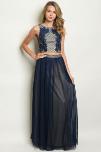 S18-13-4-SET90183 NAVY NUDE WITH PEARL PRINT TOP & SKIRT SET 2-2-2