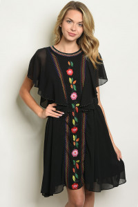 S11-15-2-D1085 BLACK WITH FLOWER EBROIDERY DRESS 2-2-2
