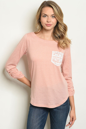 S20-7-1-T10047 PEACH WITH DOTS TOP 3-4