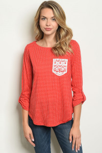 S21-11-5-T10047 RED WITH DOTS TOP 2-2-2