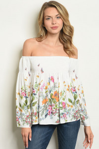 S12-2-4-T10238 OFF WHITE FLORAL TOP 2-2-2