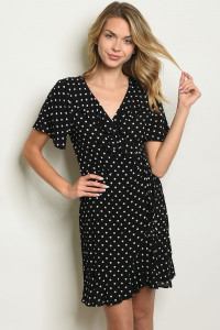 S11-14-3-D10235 BLACK WITH DOTS DRESS 2-2-2