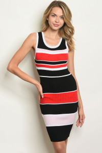 S20-11-4-D5637 BLACK RED STRIPES DRESS 3-3