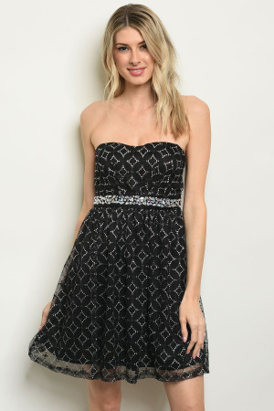 C14-A-4-D1026 BLACK WITH SHIMMER DRESS 2-2-2