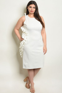 S5-3-3-D1062X WHITE PLUS SIZE DRESS 2-2-2