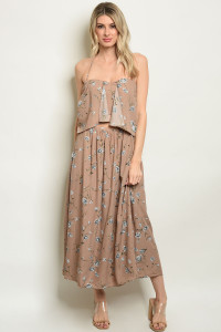 S11-9-4-D1105 TAUPE WITH FLOWER PRINT DRESS 3-2-1