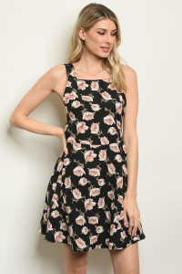 S11-9-4-D1048 BLACK WITH FLOWER PRINT DRESS 3-2-1