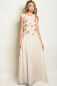 S17-8-1-D25527 CREAM WITH FLOWER EMBROIDERY DRESS 1-1-1