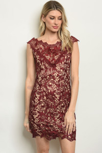 S10-16-3-D16691 BURGUNDY NUDE DRESS 1-2-2