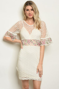 S3-4-1-D16632 CREAM WITH FLOWER EMBROIDERY DRESS 2-2-2