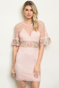 S10-16-3-D16632 BLUSH WITH FLOWER EMBROIDERY DRESS 2-1-1