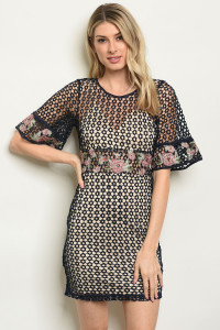 S3-5-4-D16632 NAVY NUDE WITH FLOWER EMBROIDERY DRESS 2-2-2