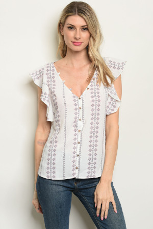 S10-16-3-T59490 OFF WHITE PINK PRINT TOP 3-2-2
