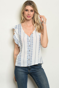 S15-12-6-T59490 OFF WHITE BLUE PRINT TOP 2-2-2