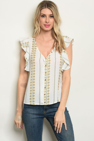 S10-16-3-T59490 OFF WHITE YELLOW PRINT TOP 2-1-1