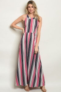 S8-3-4-D10283 FUCHSIA STRIPES DRESS 2-2-2