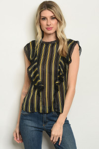 S4-8-4-T59510 BLACK STRIPES TOP 2-2-2