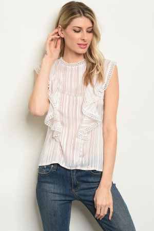 S10-16-3-T59510 OFF WHITE PINK STRIPES TOP 3-2-2