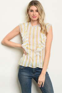 S4-8-4-T59510 OFF WHITE YELLOW STRIPES TOP 2-2-2