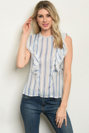 S9-16-3-T59510 OFF WHITE BLUE STRIPES TOP 3-2-1