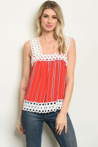 S8-3-4-T51688 RED STRIPES TOP 2-2-2