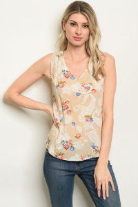 S9-16-3-T51657 TAN PAISLEY PRINT TOP 3-1-1