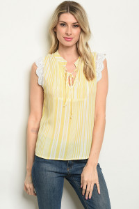 S9-16-3-T10301 YELLOW STRIPES TOP 1-2-1