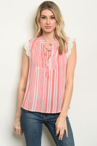 S8-11-4-T10301 CORAL STRIPES TOP 2-2-2