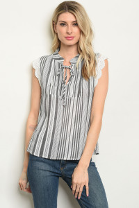 S8-11-4-T10301 BLACK STRIPES TOP 2-2-2