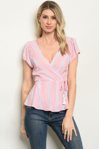 S15-9-4-T51689 PINK STRIPES TOP 2-2-2